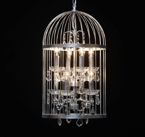 Bird Cage Chandelier in Antique Silver Medium